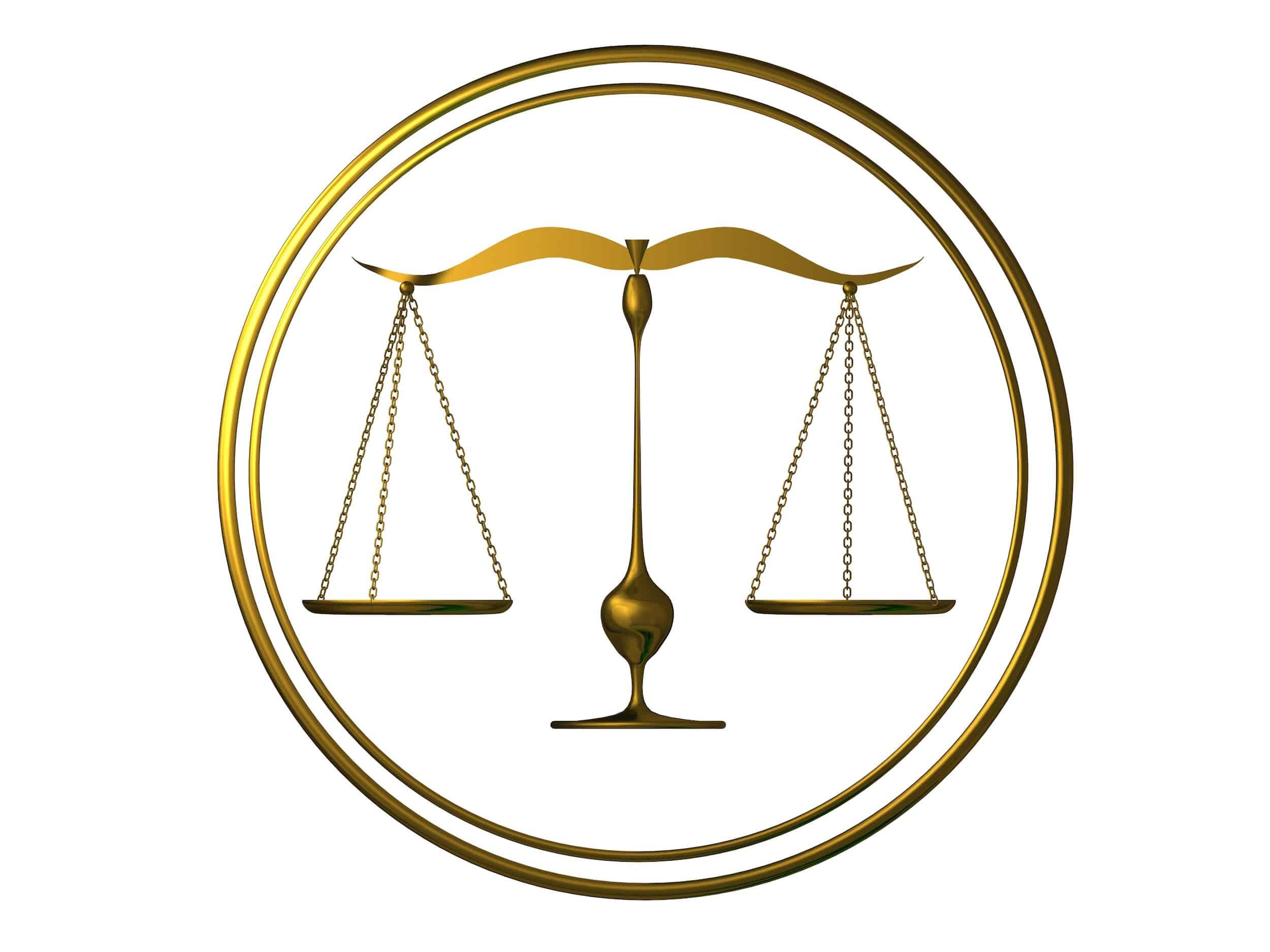 justice scales balanced