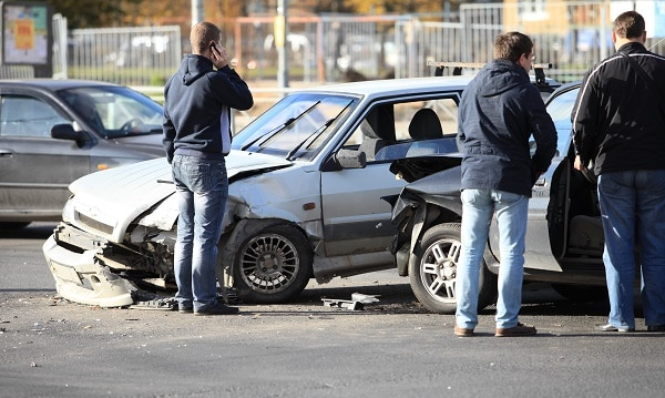 Two Cars in an Intersection After an Accident