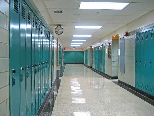 Empty Hallway in a Public School
