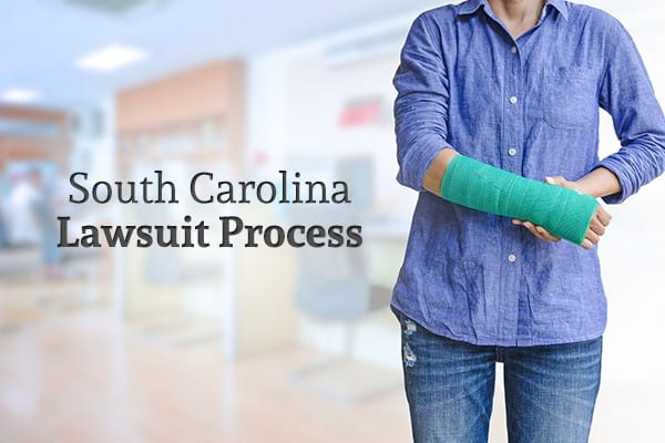 "A woman with her arm in a cast stands beside the words ""South Carolina Lawsuit Process"""