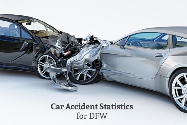 Two cars are involved in a head-on collision with the words, car accident statistics for DFW