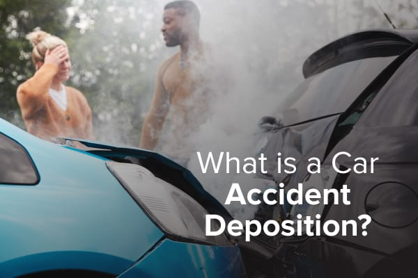 "Two people are looking distraught over their car accident, with the words ""what is a car accident deposition."""