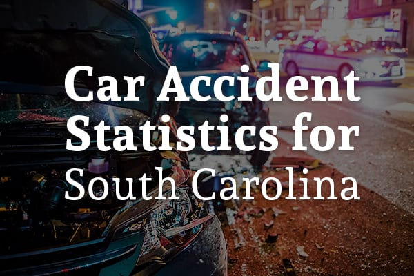 A rear-end collision with the words, car accident statistics for South Carolina.